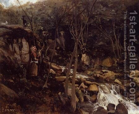 Lormes - A Waterfall with a Standing Peasant, Spinning Wool by Jean-Baptiste-Camille Corot - Reproduction Oil Painting