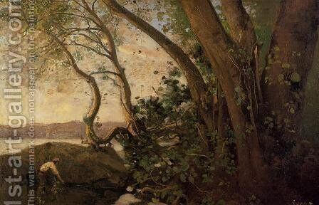Nemi, the Lake's Edge by Jean-Baptiste-Camille Corot - Reproduction Oil Painting