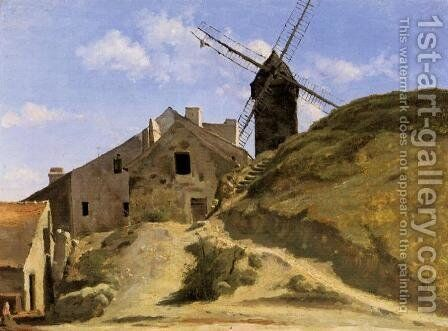 A Windmill in Montmartre by Jean-Baptiste-Camille Corot - Reproduction Oil Painting