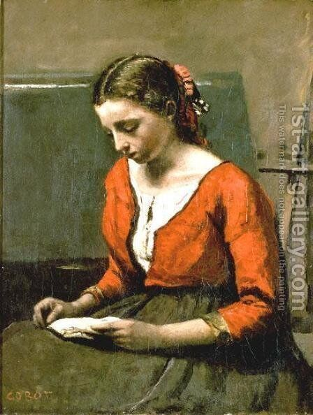 A Girl Reading by Jean-Baptiste-Camille Corot - Reproduction Oil Painting