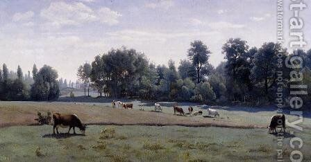 Marcoussis - Cows Grazing by Jean-Baptiste-Camille Corot - Reproduction Oil Painting