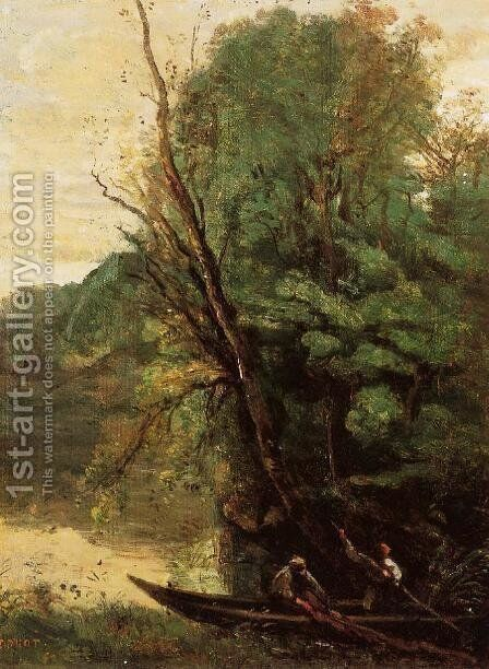 Fishing with Nets, Evening by Jean-Baptiste-Camille Corot - Reproduction Oil Painting