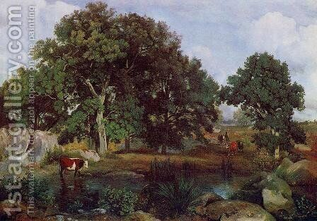 Forest of Fontainebleau by Jean-Baptiste-Camille Corot - Reproduction Oil Painting