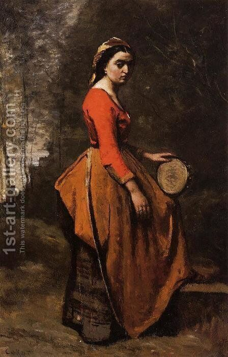 Gypsy with a Basque Tamborine by Jean-Baptiste-Camille Corot - Reproduction Oil Painting
