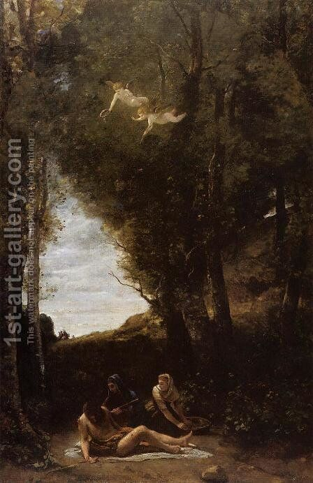 Saint Sebastian in a Landscape by Jean-Baptiste-Camille Corot - Reproduction Oil Painting