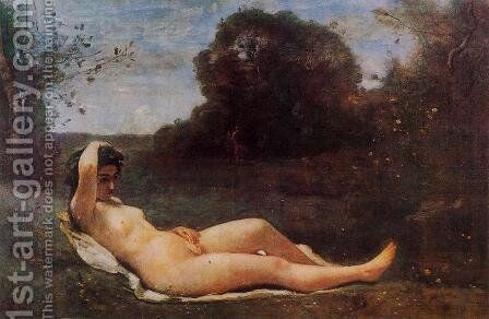 Reclining Nymph by Jean-Baptiste-Camille Corot - Reproduction Oil Painting