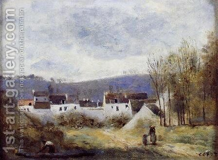 Village at the Foot of a Hill, Ile-de-France by Jean-Baptiste-Camille Corot - Reproduction Oil Painting