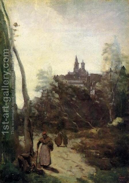 Semur - the Path from the Church by Jean-Baptiste-Camille Corot - Reproduction Oil Painting