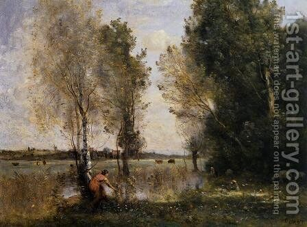 Woman Picking Flowers in a Pasture by Jean-Baptiste-Camille Corot - Reproduction Oil Painting