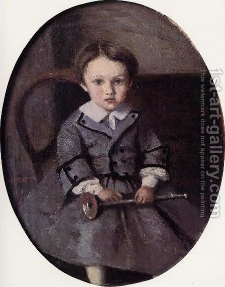 Maurice Robert as a Child by Jean-Baptiste-Camille Corot - Reproduction Oil Painting