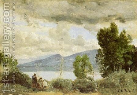 View of the Chalet de Chenes, Bellevue, Geneva by Jean-Baptiste-Camille Corot - Reproduction Oil Painting
