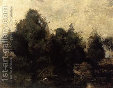 Near Arras, the Banks of the Scarpe by Jean-Baptiste-Camille Corot - Reproduction Oil Painting