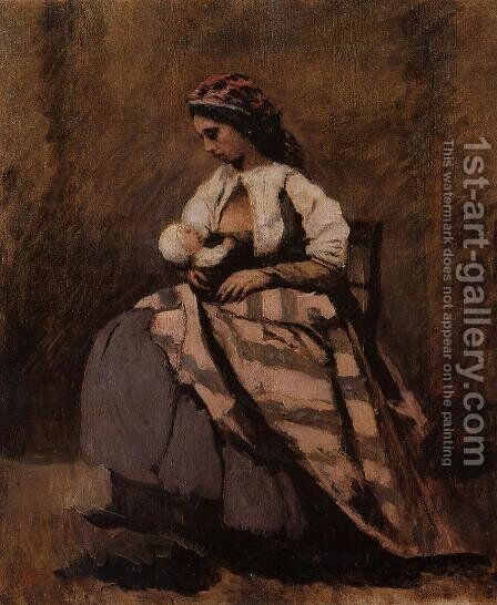 Mother Breast Feeding Her Child by Jean-Baptiste-Camille Corot - Reproduction Oil Painting