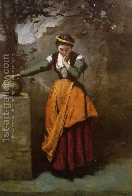 Daydreaming at the Fountain by Jean-Baptiste-Camille Corot - Reproduction Oil Painting
