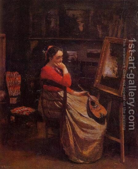 The Studio by Jean-Baptiste-Camille Corot - Reproduction Oil Painting