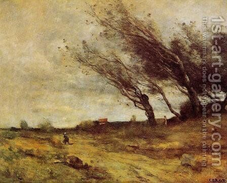 Windswept Landscape by Jean-Baptiste-Camille Corot - Reproduction Oil Painting
