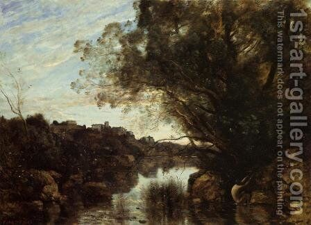Souvenir of the Lake Nemi Region by Jean-Baptiste-Camille Corot - Reproduction Oil Painting