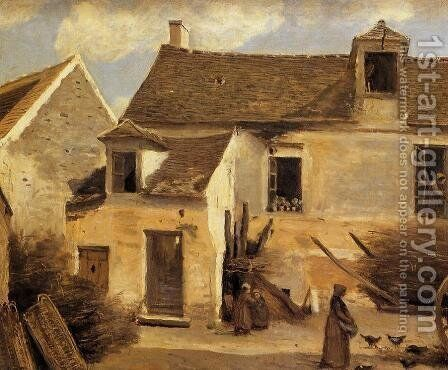 Courtyard of a Bakery near Paris by Jean-Baptiste-Camille Corot - Reproduction Oil Painting
