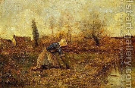 Farmer Kneeling Picking Dandelions by Jean-Baptiste-Camille Corot - Reproduction Oil Painting