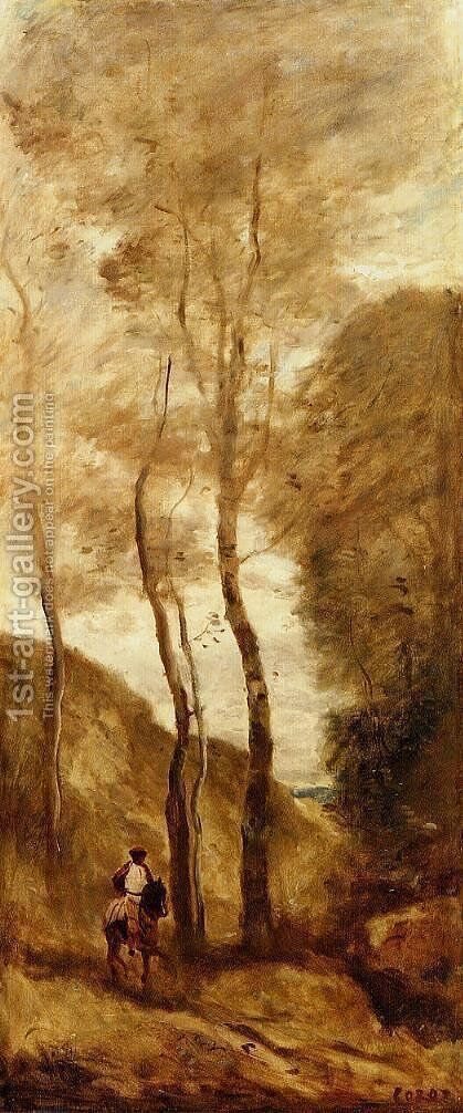 Horse and Rider in a Gorge by Jean-Baptiste-Camille Corot - Reproduction Oil Painting