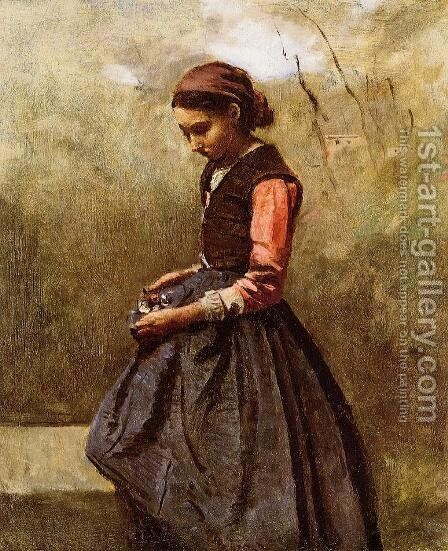 Pensive Young Woman by Jean-Baptiste-Camille Corot - Reproduction Oil Painting