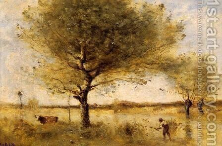 Pond with a Large Tree by Jean-Baptiste-Camille Corot - Reproduction Oil Painting