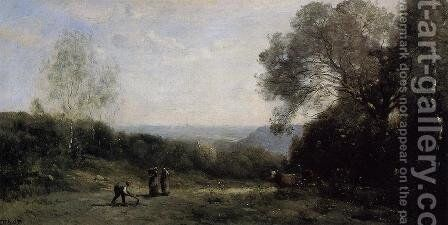 Outside Paris - The Heights above Ville d'Avray by Jean-Baptiste-Camille Corot - Reproduction Oil Painting