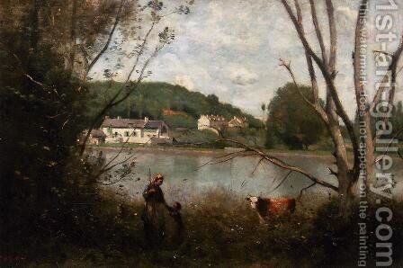 Cowherd and Her Child by Jean-Baptiste-Camille Corot - Reproduction Oil Painting