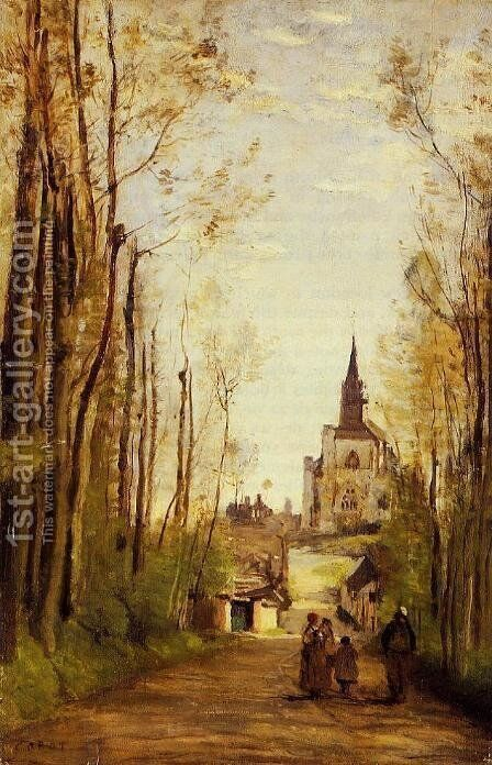Marissal, Path to the Front of the Church by Jean-Baptiste-Camille Corot - Reproduction Oil Painting