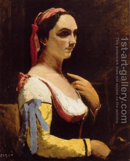 Italian Woman with a Yellow by Jean-Baptiste-Camille Corot - Reproduction Oil Painting