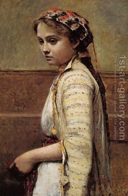 The Greek Girl by Jean-Baptiste-Camille Corot - Reproduction Oil Painting