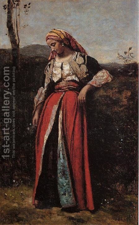Pensive Oriental by Jean-Baptiste-Camille Corot - Reproduction Oil Painting