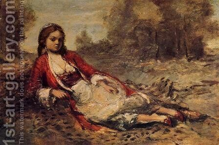 Young Algerian Woman Lying on the Grass by Jean-Baptiste-Camille Corot - Reproduction Oil Painting