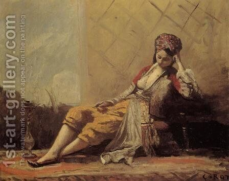 Odalisque by Jean-Baptiste-Camille Corot - Reproduction Oil Painting