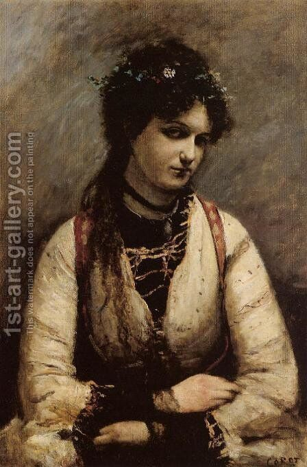 Mademoiselle de Foudras by Jean-Baptiste-Camille Corot - Reproduction Oil Painting