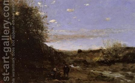 Hamlet and the Gravedigger by Jean-Baptiste-Camille Corot - Reproduction Oil Painting