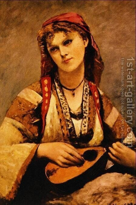 Gypsy with a Mandolin by Jean-Baptiste-Camille Corot - Reproduction Oil Painting
