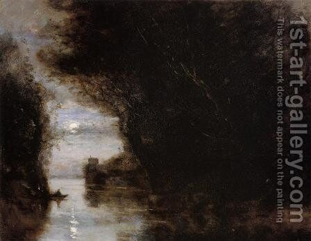 Moonlit Landscape by Jean-Baptiste-Camille Corot - Reproduction Oil Painting