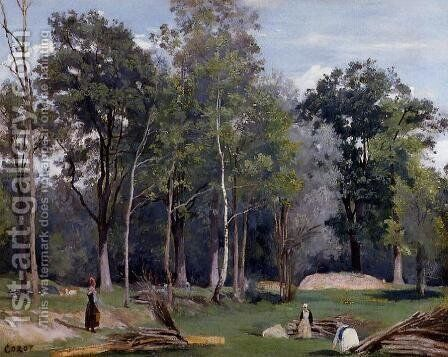 In the Woods at Ville d'Avray by Jean-Baptiste-Camille Corot - Reproduction Oil Painting
