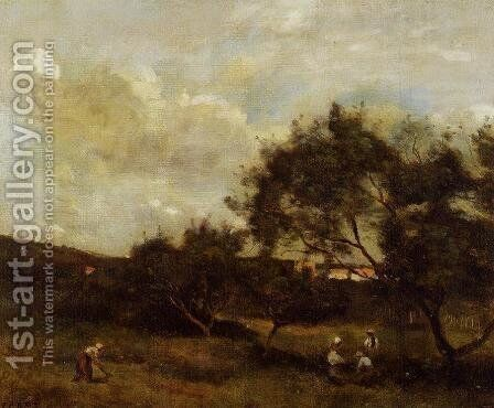 Peasants near a Village by Jean-Baptiste-Camille Corot - Reproduction Oil Painting