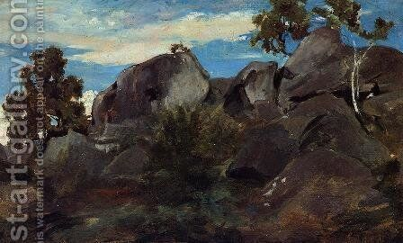 Stoller in the Fontainebleau Forest by Jean-Baptiste-Camille Corot - Reproduction Oil Painting