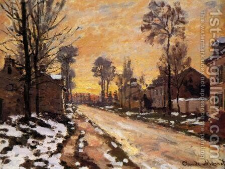 Road at Louveciennes, Melting Snow, Sunset by Camille Pissarro - Reproduction Oil Painting