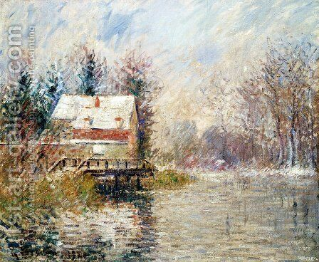 House by the Water, Snow Effect by Gustave Loiseau - Reproduction Oil Painting