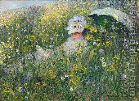 In the Meadow (detail) by Claude Oscar Monet - Reproduction Oil Painting