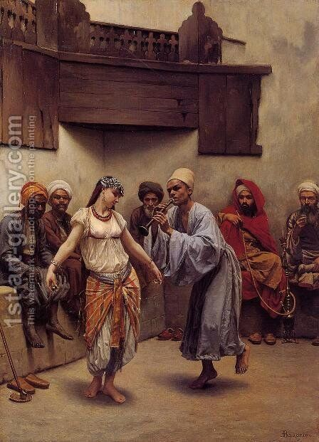 Dancing in a Cafe in Cairo by Jacques Baugnies - Reproduction Oil Painting