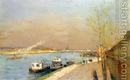 Quay on the Seine, Spring Morning by Albert Lebourg - Reproduction Oil Painting