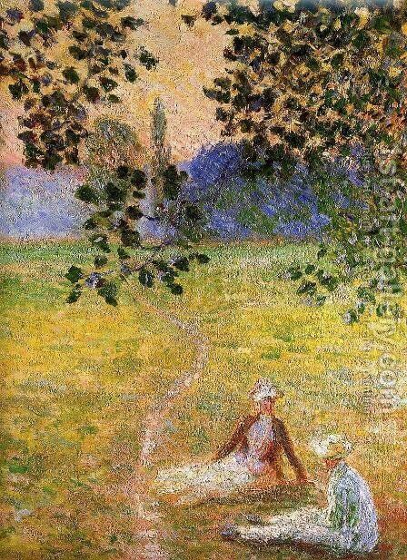Evening in the Meadow at Giverny (detail) by Claude Oscar Monet - Reproduction Oil Painting