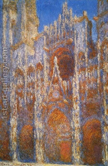 Rouen Cathedral, Sunlight Effect by Claude Oscar Monet - Reproduction Oil Painting