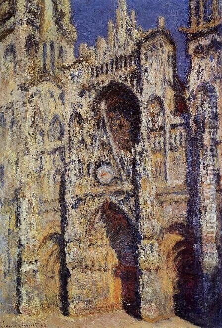 Rouen Cathedral, the Portal and the Tour d'Albane, Full Sunlight by Claude Oscar Monet - Reproduction Oil Painting
