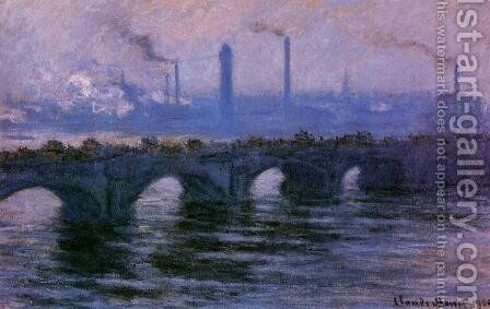 Waterloo Bridge, Overcast Weather by Claude Oscar Monet - Reproduction Oil Painting